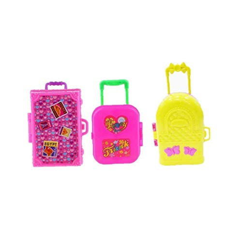 3pcs Mini Plastic Suitcase Luggage Play Miniature Dollhouse Toys Travel Girl Accessory Toys for Children Kids Gift