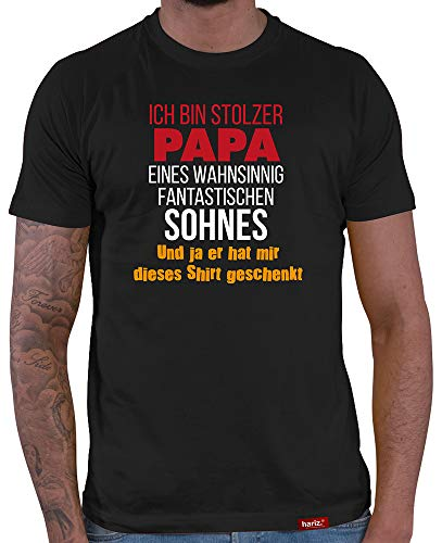 HARIZ Herren T-Shirt Papa Collection 36 Designs Wählbar Schwarz Vatertag Weihnachten Männer Geschenk Karte Urkunde Papa33 Stolzer Papa Eines Sohnes L