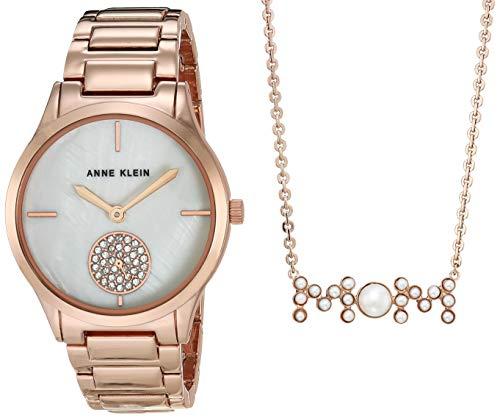 Anne Klein AK/3674RGST - Juego de pulsera y collar con cristales de Swarovski, color oro rosa