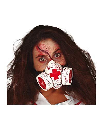 Horror-Shop Blutige Gasmaske als originelles Kostüm Accessoire für Halloween und Zombieparties