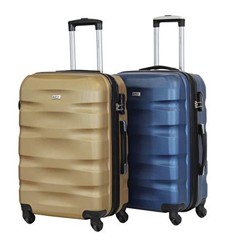 Juego de 2 Maletas Medianas de 65 cm – Aliistir Fly – ABS Ultraligero y Resistente – 4 Ruedas – Marca Francesa, Beige 3 (Beige) - 1507- Mx2 - Gold-Bleu