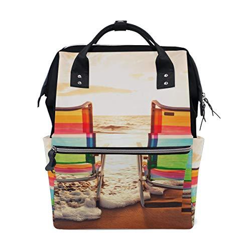 FANTAZIO Mummy Bag Backpack Hawaii Glowing Sea Landscape Pattern School Bag