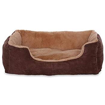 Lit pour chien – Coussin pour chien – Panier pour chien avec coussin réversible (taille et couleur au choix) 60x48x18 cm beige / marron
