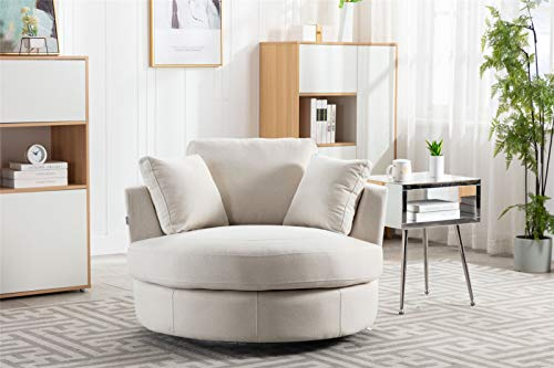 Pannow Modern Akili Swivel Barrel Chair, Swivel Accent Sofa Barrel Chairs, Round Barrel Chair 360° Swivel with 3 Pillows for Living Room (42.5 Inch, Beige)