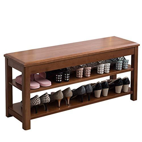 NEHARO Zapatero Banco 3-Nivel, Organizador de Almacenamiento de Entrada con Soporte de Zapatos de Madera de Asiento para la Sala de Estar del Pasillo (Color : Coffee, Size : 100x30x46cm)