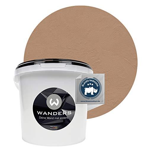 Wanders24 Venezia Stein-Optik (3 Liter, Sepia) Wandfarbe zum Spachteln, 6 Farbtöne erhältlich, Italien für Zuhause, Strukturpaste Made in Germany