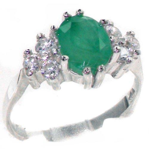 Anillo de Mujer de Plata de ley 925/1000 con Esmeralda y Diamante 1.3 quilates - Talla 15 - Otros Tallas disponibles