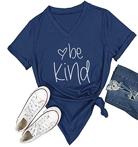 DANVOUY Womens T Shirt Casual Cotton Short Sleeve V-Neck Graphic T-Shirt Tops Tees Blue Large