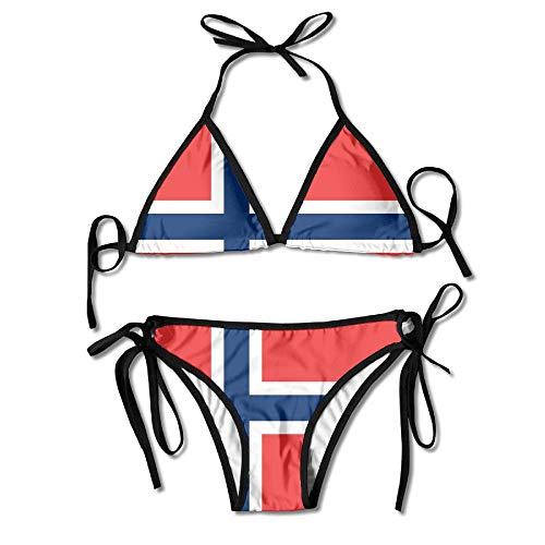 Flag of Norway Tie Back Bikini Swimsuit Push Up Two Pieces Bathing Sets for Women