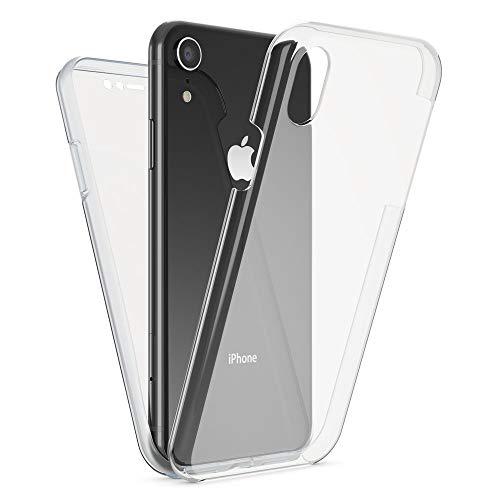 NALIA 360 Grad Handyhülle kompatibel mit Apple iPhone XR, Full-Cover Silikon Bumper mit Bildschirmschutz vorne Hardcase hinten, Hülle Doppel-Schutz, Dünn Ganzkörper Hülle Handy-Tasche, Farbe:Transparent