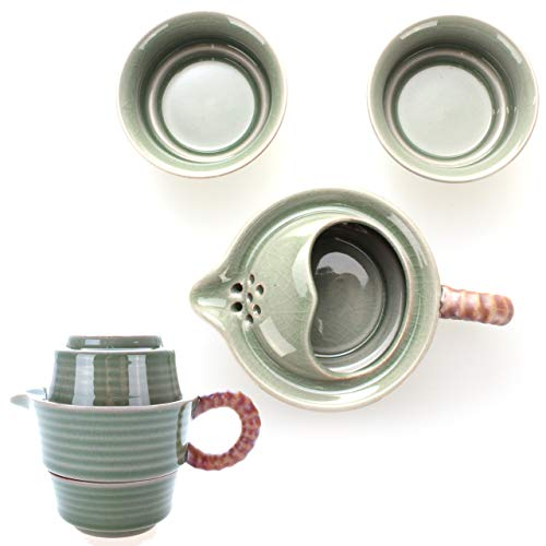 2in1 tradizionale servizio da tè asiatico, fatto a mano da celadon cinese