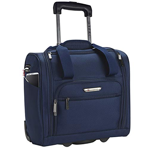 TPRC 15' Smart Under Seat Carry-On Luggage with USB Charging Port, Navy Blue Option, One Size