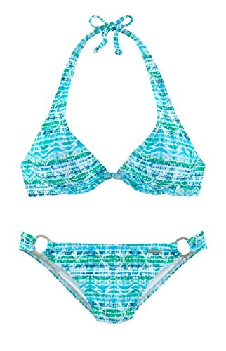Chiemsee Marke Bügel Bikini türkis bunt Bademode Cup B C D E Gr 36 38 (38 Cup B)