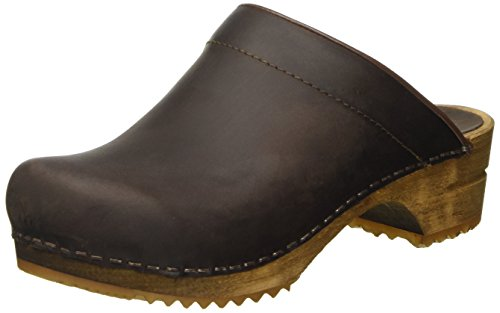 Sanita Christian Mule Clog | Original Handmade Wooden Leather Clog for Men | Brown | 35