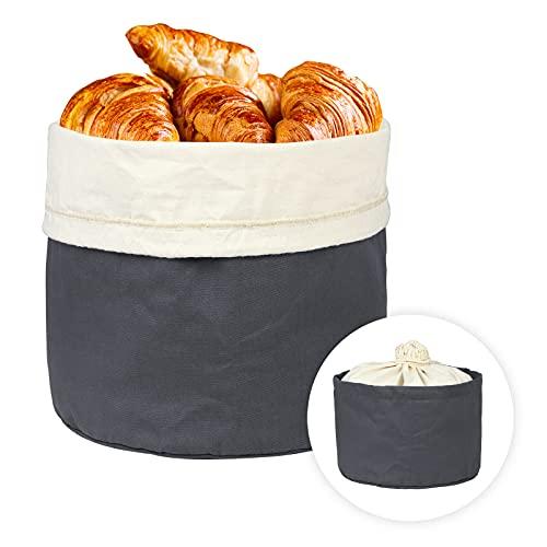 Fushida Brotkorb mit Kordelzug Brotbeutel, Ø 25 * 16.5cm, Leinen Baumwollbrotbeutel als Aufbewahrung von Brot, Brötchen und Gebäck