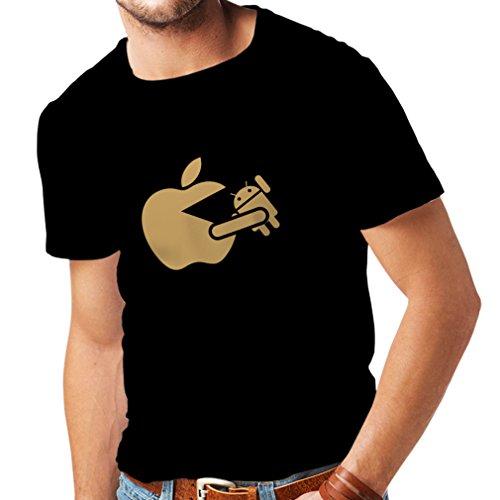 Männer T-Shirt Lustiger Apfel isst einen Roboter - Geschenk für Tech-Fans (XXXX-Large Schwarz Gold)