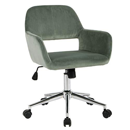 FurnitureR Silla tapizada para Oficina en el hogar con Respaldo Alto, Silla de Trabajo de Escritorio de Terciopelo de diseño Moderno...