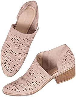 PLIUA Sandals Casual Women's Sandals Large Size Hollow Low Heel Shoes 6 Cream color