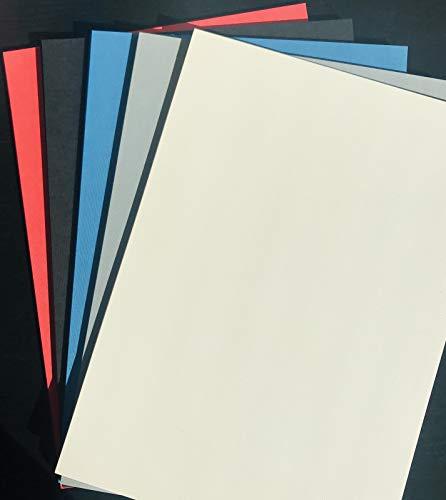 Leinenkarton-Mix 50 x Leinen-Deckblatt DIN A4 in 5 gemischten Farben (210x297mm) Leinen Einbanddeckel