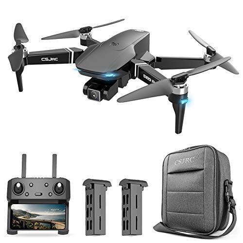 Walory CSJ S189 Pro GPS Drone con cámara 4K Motor sin escobillas Quadcopter 5G WiFi FPV Cámara Dual Drone para Adultos Auto Follow/Return Surround Fly 25 Minutos de Vuelo con Bolsa de Almacenamiento