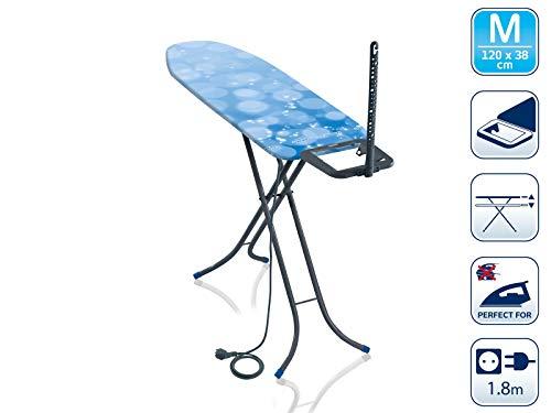Leifheit Bügeltisch Classic M Basic Plus, für Dampfbügeleisen geeignet, Bügelbrett mit dampfdurchlässiger Bügelfläche, Dampfbügelbrett mit Steckdose, Limited Edition grau blau
