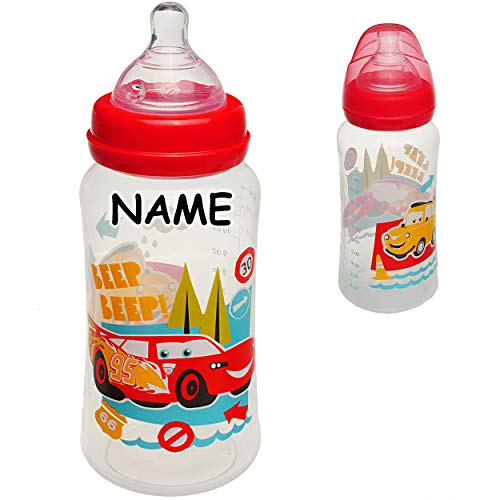 alles-meine.de GmbH große _ Babyflasche - Trinkflasche - Disney Cars - Auto - Lightning McQueen - inkl. Name - 400 ml / 360 ml - BPA frei - ab Geburt - mitwachsend - 3 Positionen..