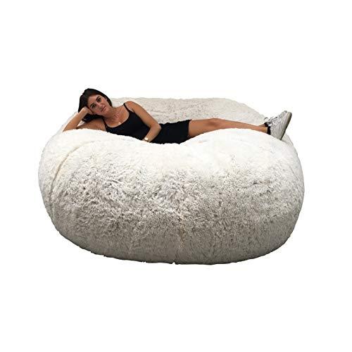 Riesiger Sitzsack, 180 cm Durchmesser, Pelz XXL mit zerkleinertem Schaumstoff, sehr bequem, Sofa, Doppelbezug, maschinenwaschbar, Birne, Kissen, Sofa (weiß)