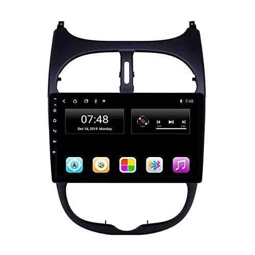 Controlador de radio de coche con pantalla táctil de 10,1 pulgadas, para Peugeot 206 2000 – 2016, GPS, FM, Bluetooth, cámara de marcha atrás, control de volante
