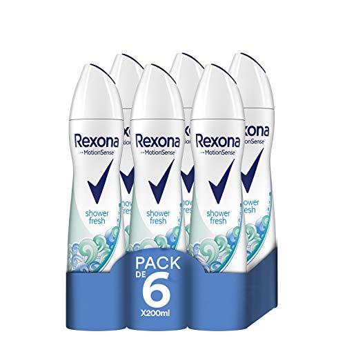 Rexona Desodorante Antitranspirante Shower Fresh - Pack de 6 x 200 ml (Total: 1200 ml)