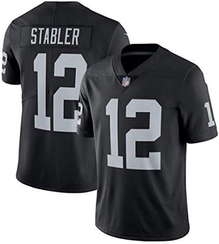 FFZH Equipos Populares Las Vegas Raiders Ken Stabler # 12 Camiseta de fútbol Americano Ventiladores Sudadera Rugby Jersey Transpirable Bordado Limpieza repetible-S_Negro