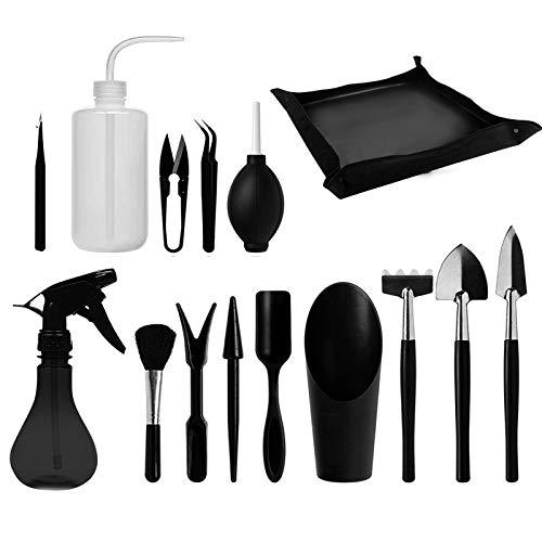 Juego de 15 herramientas de mano de jardinería, kit de trasplante suculentas para plantar en interiores, jardín de hadas en miniatura