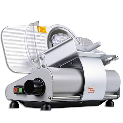 """SuperHandy Meat Slicer Meat Deli Cheese Food Commercial Elite Electric Stainless Steel Heavy Duty 9"""" Inch Professional RSG SS 220mm Blade 110-120V DC Induction Motor 230 Watt"""