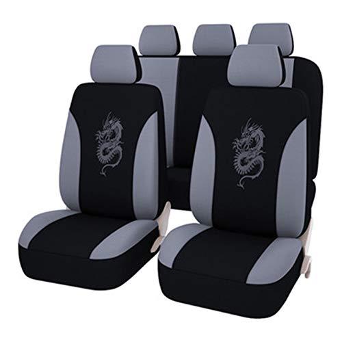 Asiento de Coche Cubierta, 5 Asiento del Sistema Completo Universal Compatible Front Airbags Posterior Transpirable de Tela Calidad del dragón Bordado Protector Cojín (Color : Gray, Size : 5sit)