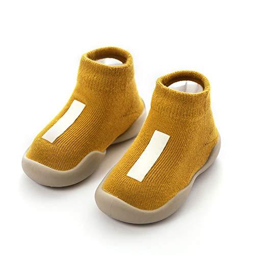 Unisex Babysocken Schuhe Anti Slip Fußboden-Socken mit weicher Gummi Bottom Infant Newborn Cotton Socken Stiefel für Indoor Outdoor XL Gelb