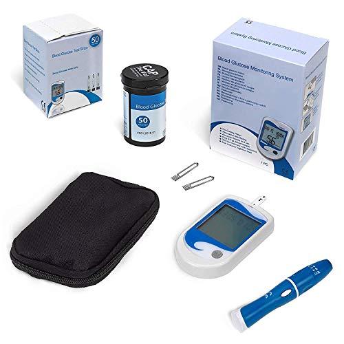 AIESI® Blutzuckermessgerät professionelles set mit 50 teststreifen + Stechhilfe + 50 stechlanzetten + Etui mit reißverschluss zur uberwachung des blutzuckers # Made in Europe