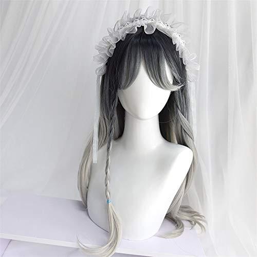 Perruque Femmes 55-65 CM Lolita Parti Doux Gris Argent Ombre longue Cheveux ondulés Bangs résistant à la chaleur cosplay perruque synthétique Postiches (Color : 65CM Silver Gray, Size : 1)