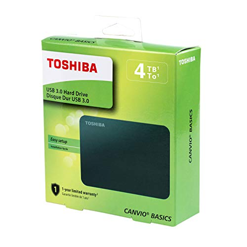 Toshiba (HDTB440XK3CA) Canvio Basics 4TB Portable External Hard Drive USB 3.0, Black
