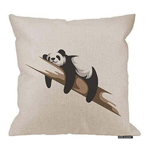 Funda de almohada de Panda, diseño de panda de rodillas en una rama, algodón y lino, poliéster, decoración decorativa del hogar, sofá, silla de escritorio, dormitorio, 45,7 x 45,7 cm