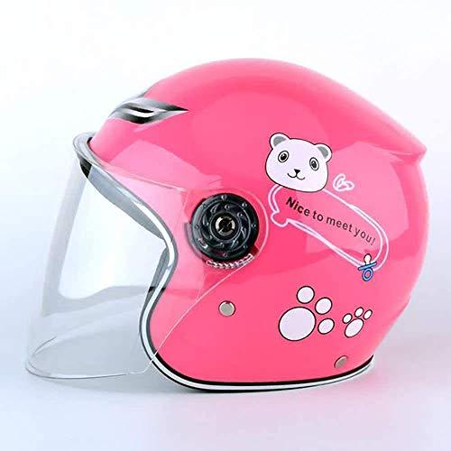 ZYW Kindermotorradhelm, Motorradhalbschalenhelm, Elektro-Motorrad Vier Jahreszeiten Moped Junge Mädchen Mädchen Kind,Rosa