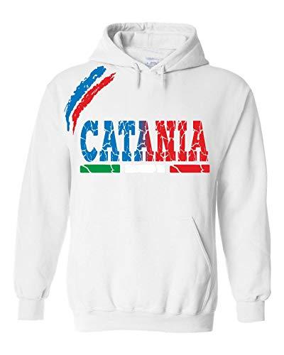 vestipassioni Felpa Catania Cappuccio Sport Tifosi Ultras Calcio Supporter Made in Italy(XL, Bianco)