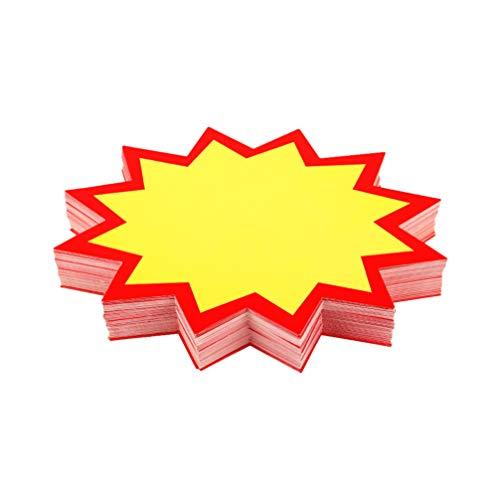 STOBOK La venta al por menor en forma de estrella en blanco firma las etiquetas del precio de venta para la tienda de alimentos, 100 unidades