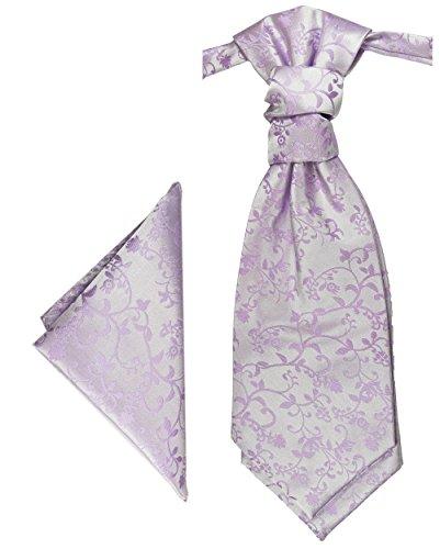 Paul Malone Plastron Set flieder lila 2tlg Plastron mit Einstecktuch - Hochzeit Krawatte