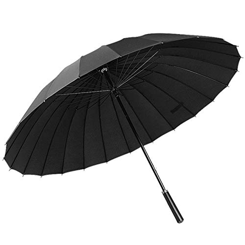 ThreeH Sturmfester Golf Regenschirm 24 Rippen Groß Geschäft Sonnenschirm Stockschirm KS07,Black