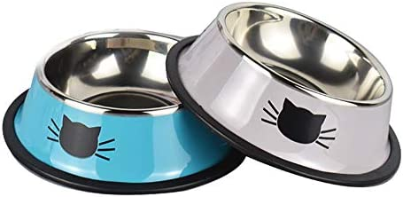 Yasma 2Pcs Cat Bowls Stainless Steel Pet Cat Bowl Kitten Rabbit Cat Dish Bowl with Cute Cats product image