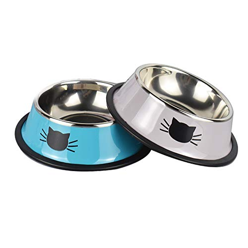 Yasma 2Pcs Cat Bowls Stainless Steel Pet Cat Bowl Kitten Rabbit Cat Dish Bowl with Cute Cats Painted cat Food Dish Easy to Clean Durable Cat Dish for Food and Water (Blue Grey)