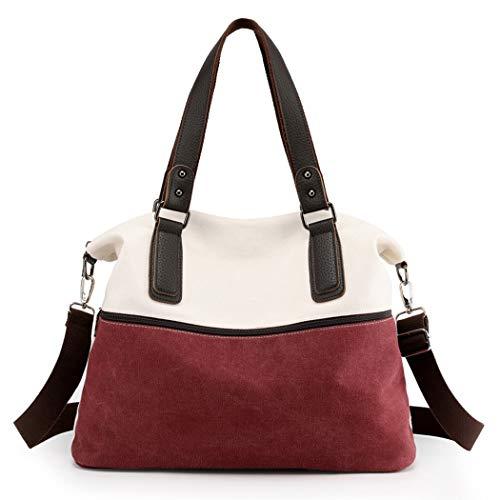 COOFIT Damen Handtasche Damen Shopper Tasche Elegant Umhängetaschen Schultertasche Groß Damen Tasche Damen Henkeltasche (Rot-Weiss)