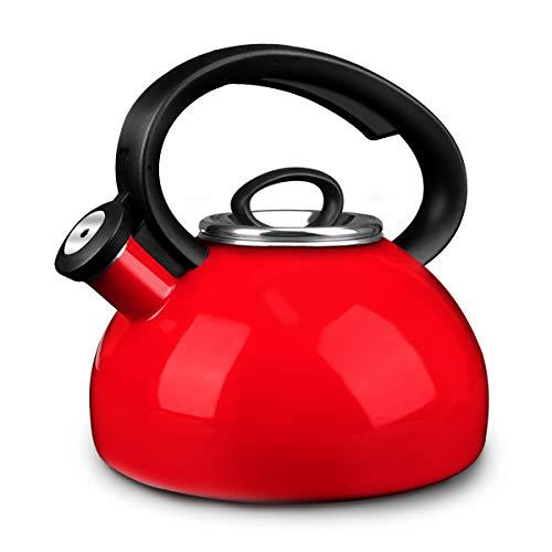 Whistling Tea Kettles, AIDEA 2 Quart Ceramic Tea Kettle for Stovetop, Enameled Interior Tea Pot for Anti-Rust, Audible Whistling Hot Water Kettle for Kitchen, Best Christmas Gift - Red