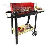KASALINGO, Barbecue a carbonella, da terrazzo, giardino o balcone, barbecue americano con griglia in acciaio inox, barbecue portatile con ruote, 83 x 28 x 83 cm