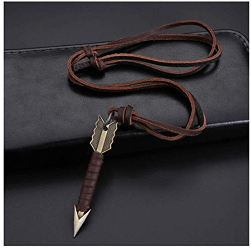 QAZXC Handmade Vintage Leather Arrow Pendant Necklace Rope Chain Necklaces Men&Women Punk Jewlery Accessories Wholesale1Pc