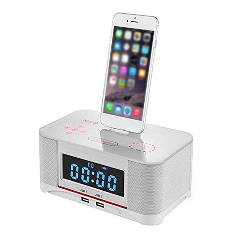 SEESEE.U Reloj despertador con altavoz Bluetooth, alarma dual digital FM con radio inalámbrico 4.0, batería de reserva, repetición y temporizador de sueño, pantalla grande, color blanco